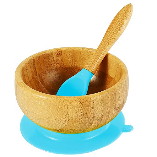 SK Bamboo Kids Bowls with BPA Free Matching Silicone Spoon Set | Suction bowls for Kids, Seniors, Adult – Easy to Clean | Bamboo bowls with Strong Suction for No-Slip and No-Mess Meal | Blue