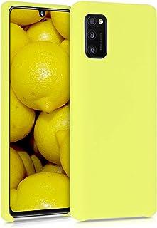 kwmobile telefoonhoesje compatibel met Samsung Galaxy A41 - Hoesje met siliconen coating - Smartphone case in mat geel
