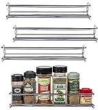 Unum Chrome Wall-Mount/Cabinet Door Spice Rack (x4) – Single Tier Hanging Spice Organizers/Racks - Pantry, Kitchen Wall/Cupboard, Over Stove, and Closet Door Storage – 11 3/8'L x 3'D x 2'H