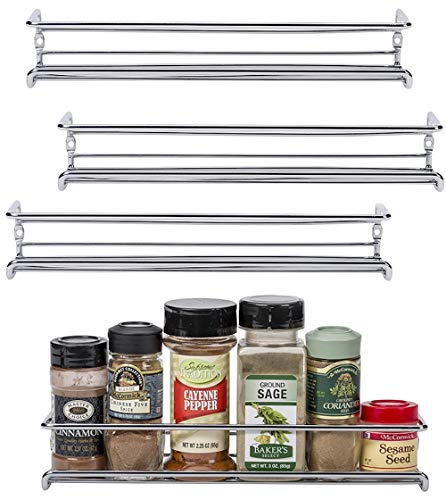 Unum Chrome WallMount/Cabinet Door Spice Rack x4 – Single Tier Hanging Spice Organizers/Racks  Pantry Kitchen Wall/Cupboard Over Stove and Closet Door Storage – 11 3/8quotL x 3quotD x 2quotH