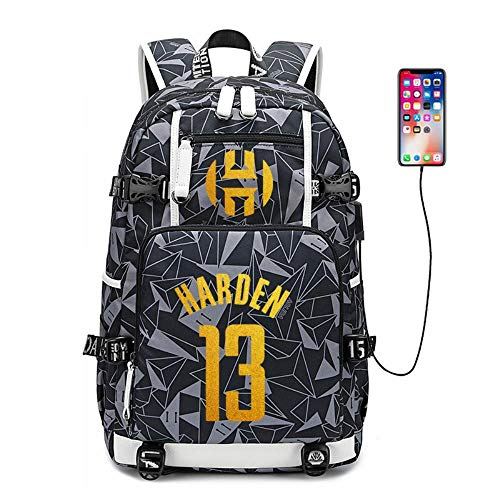 NBA Rockets Schoolbag Bolsa de Entrenamiento de Baloncesto Mochila Mochila USB Bolsa de Viaje de Gran Capacidad A1808