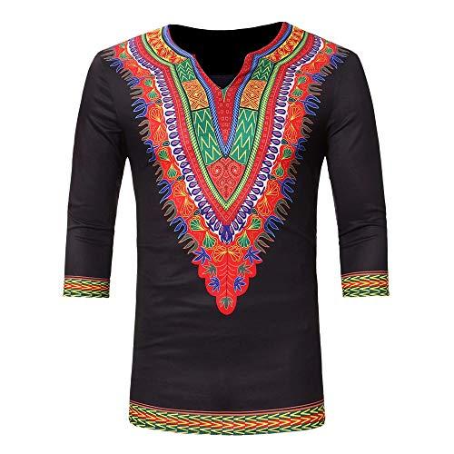 WUSIKY Tshirt Herren Afrika Dashiki Hemd Herren Langarmshirt Slim Fit T Shirt Luxus Print Top Bluse Oversize Oberteile Tshirts Männer Hemden (Schwarz, XL)