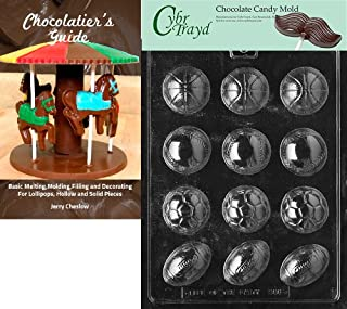 Cybrtrayd Ball Assortment Sports Chocolate Candy Mold with Chocolatier's Guide Instructions Book Manual