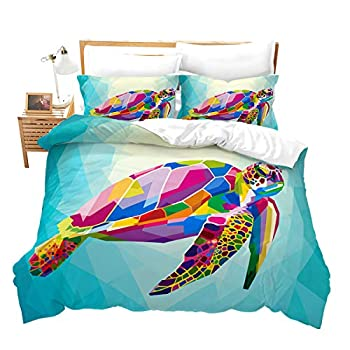Feelyou Turtle Duvet Cover Set King Size Sea Turtle Pattern Bedding Set Printed Decorative Sea World Animal Comforter Cover with 2 Pillowcases Microfiber Turquoise Ocean Quilt Cover Zipper 3 Pieces