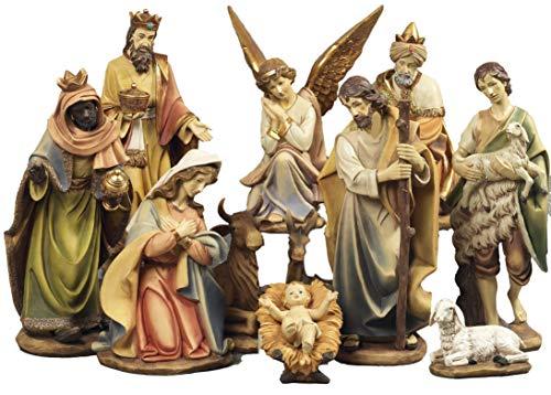 Presepe natività composto da 11 statue in resina decorata alte fino a 43 cm