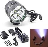 LED Fahrradlicht Set,USB Wiederaufladbare Fahrradleuchte Frontlenker Wasserdicht 10000Lm T6 5X CREE XM-L U2 LED Fahrradlampe Taschenlampe + Batterie Fahrradlichter für Mountainbike und Camping
