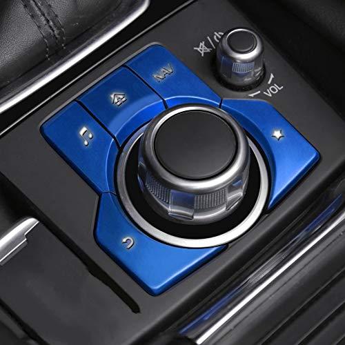 para Mazda Axela 3 CX-4 CX-5 LHD Car Styling Freno De Mano del Freno De Estacionamiento Bloqueo AUTOMÁTICO Y Botón De Ajuste Cubierta De La Etiqueta Engomada Multimedia (Color : 5pcs Azules)