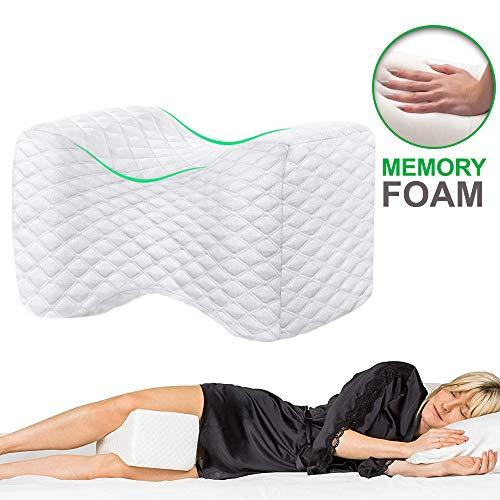 VDSOW Kniekissen Weiß, Orthopädisches Knie-Kissen für Seitenschläfer mit Memory-Schaum, Schwangerschaft Kniestützkissen Beinkisse zum Schlafen auf der Seite Bein Hüfte Rückenschmerzen Linderung