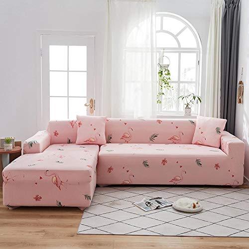 sofaüberzug l Form eckcouch Sofa Überzug Hussen Überzug Couch Cover Muster Couchbezug Couch Antirutsch Liebe Sommer rosa Vogel Polyester Material Kommt mit 3 Kissenbezug