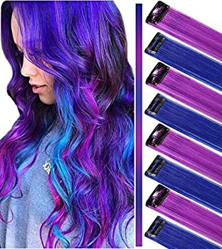 ECOCHARMS 8PCS Princess Party Highlight Clip in Colored Hair Extension Costumes Wig for Baby Girls&Dolls Purple&Blue
