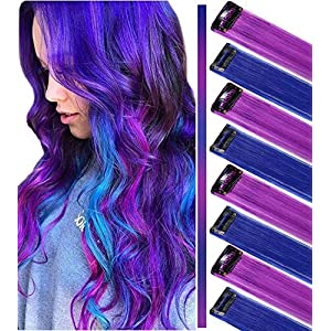 ECOCHARMS 8PCS Princess Party Highlight Clip in Colored Hair Extension Costumes Wig for Baby Girls&Dolls(Purple&Blue)