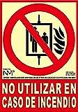 Normaluz RD00115 - Señal Luminiscente No Utilizar en Caso de Incendio Clase B PVC 0.7 mm 21x30 cm con CTE, RIPCI y Apto para la Nueva Legislación
