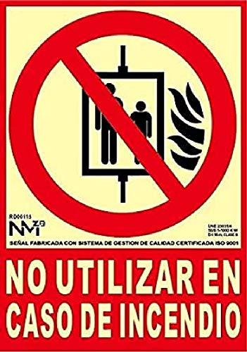 Normaluz RD00115 - Señal Luminiscente No Utilizar en Caso de Incendio Clase B PVC 0,7mm 21x30cm con CTE, RIPCI y Apto para la Nueva Legislación