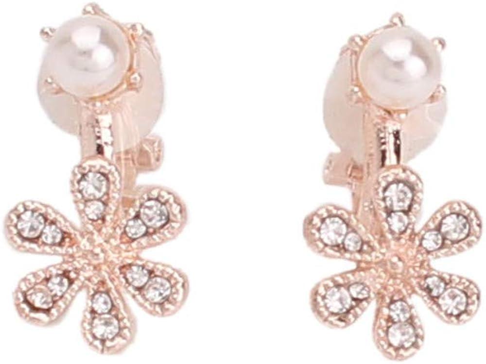 HAPPYAN Fashion Rhinestone Faux Pearl Flower Clip on Earrings No Pierced Party Cute Small Earrings