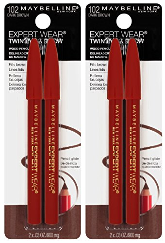 Maybelline New York Expert Wear Twin Brow & Eye Pencils Makeup, Dark Brown, , 2 Count (Pack of 2)