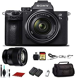 Sony Alpha a7 III Mirrorless Digital Camera with 28-70mm Lens (ILCE7M3K/B) with Sony FE 85mm Lens, Bag, Extra Battery, 64GB Memory Card, Memory Card Reader and More.