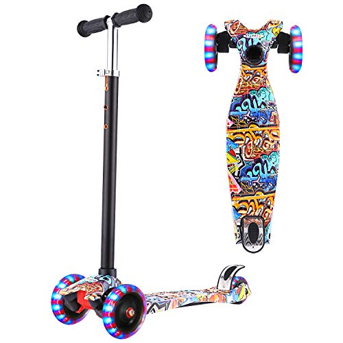 WeSkate Scooter for Kids Ages 3-12 with LED Light Up Wheels , Kids Scooter Adjustable Height, Lean to Steer, Extra-Wide Deck, 3 Wheel Kick Scooter for Toddlers Girls & Boys, 110lb Weight Capacity