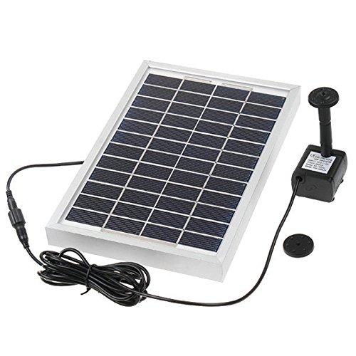 Hedc® Solar Teichpumpe,5W Solar Springbrunnen Solarpumpen Teich Springbrunnen Wasserpumpen für Gartenteich Max.Saughöhe:60 cm,380 L/h,mit 3 Verschiedenen Düse