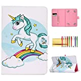 Universal Folio Cover for 10 inch Tablet, Techcircle Stand Wallet Case for iPad 9.7' Pro/Air 10.5', Samsung Galaxy Tab 9.7' 9.6' 10.1' 10.5', Fire HD 10, Lenovo Tab 10 / Tab4 10 Plus, Green Unicorn