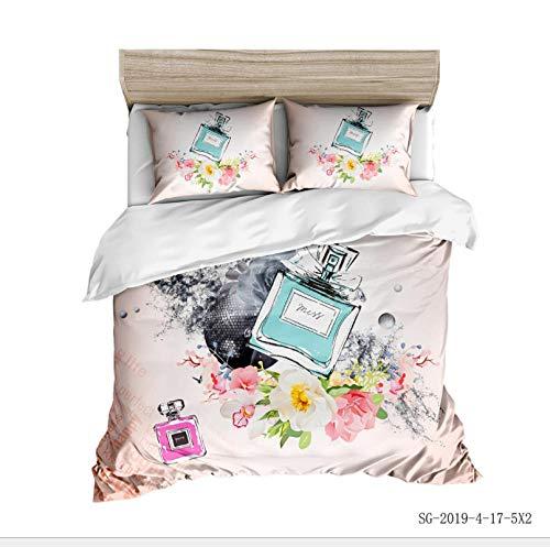 ZLLM Bettwäsche Set Britisches Parfüm Bettbezug Set Mikrofaser Weiche Angenehme 3D Bettwäsche Set 3 Teilig Mit Reißverschluss + 2 Kissenbezüge,Single/Bettbezug 140X200 cm