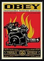 ポスター オベイ Print and Destroy/Shepard Fairey 手書きサイン入り 額装品 ウッドハイグレードフレーム(ブラック)