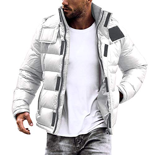 Runcati Mens Hooded Puffer Down Jacket Lightweight Quilted Winter Outerwear Stand Collar Thermal Coat White