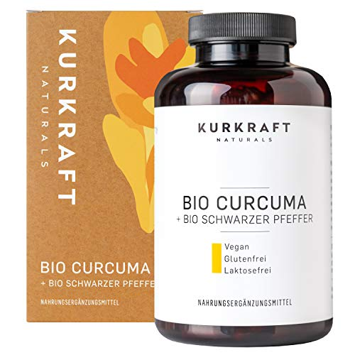 Kurkraft® Bio Curcuma (240 Kapseln) - Neue Rezeptur - 4620mg (Bio Kurkuma + Bio schwarzer Pfeffer) je Tagesdosis - Mit Curcumin & Piperin - vegan - laborgeprüft - hergestellt in DE