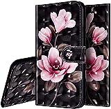 Surakey Cover per Huawei Honor 20 Lite/10i/20i/Enjoy 9S,Flip Libro Portafoglio Custodia in PU Pelle Chiusura Magnetica con Porta Carte Funzione Stand Protettiva Cover,Fiore Rosa