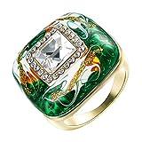 Yoursfs Bague ceramique 50mm Or Jaune plaqué Solitaire en Email Vert et Cristal pour Femme comme Cadeau Anniversaire