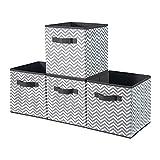 BrilliantJo Cubos de Almacenaje, Cajas Plegables de Tela con Doble Mango, para Casa, Oficina, Zigzag Gris/Blanco, 4 pcs, 33 x 38 x 33cm