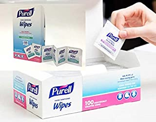 Purell Sanitizing On The Go Hand Wipes, Individually Wrapped (Pack of 100)-Fragrance Free Alcohol Sanitizing Wipes. (1 Box 100)