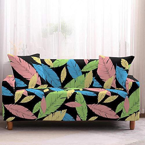 Stretch Sofabezüge Bedruckte Sofabezüge aus Polyester Spandex Stoff für Sofa mit Armlehne für alle Sofatypen Protector Abdeckung mit 2 Kissenbezug ( 4 Sitzer,Farbige Federn)