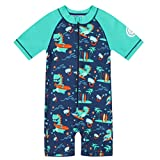miniatree Boys Swimsuit Toddler Rash Guard One Piece Kid Swimming Suit Swimwear Bathing Suit Wetsuit (Green Surfing Dinosaur, 3-4 T(110))