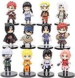 12 Pcs Uzumaki Ninja Collection Toy Set Action Figures Naruto Anime Party Favor Supplies Featuring Sasuke Gaara Jiriya Kakasi Sakura Itachi and More!