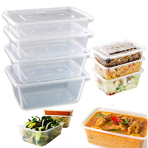 Microwave Takeaway Plastic Food Containers with Lids Food Storage Containers with Lids Microwave Freezer & Dishwasher Safe - Ideal for Meal prep & Takeaway Clear Food Container (250, 500ml)