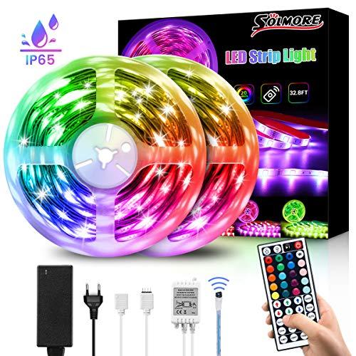LED Streifen 10M, SOLMORE RGB Led Lichtband IP65 Wasserdicht 300LEDs SMD5050 LED Strip mit 44-Tasten Fernbedienung und Netzteil, Selbstklebende Lichtleiste für Weihnachten Innen Außen Deko