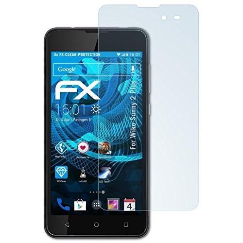 atFolix Schutzfolie kompatibel mit Wiko Sunny 2 Plus Folie, ultraklare FX Bildschirmschutzfolie (3X)