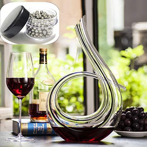 SDFSX Decanter per vino, soffiato a mano, in cristallo senza piombo, 1,2 l, 6 forme classiche, caraffa per vino rosso, accessori per vino, regalo per vino
