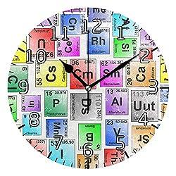 Bardic Lmuchen Wall Clock Colorful Elements Pattern Non Ticking Round Art Clock Lightweight Vintage Silent Atomic Analog Kitchen Clock 9.8x9.8 inch