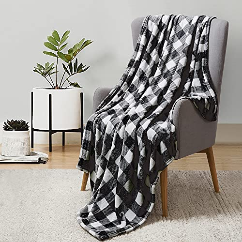 BEDELITE Fleece Blankets Black and White Buffalo Plaid Throw Blankets for Couch & Bed, Plush Microfiber Fuzzy Check Blanket, Super Soft Warm Blankets for Winter