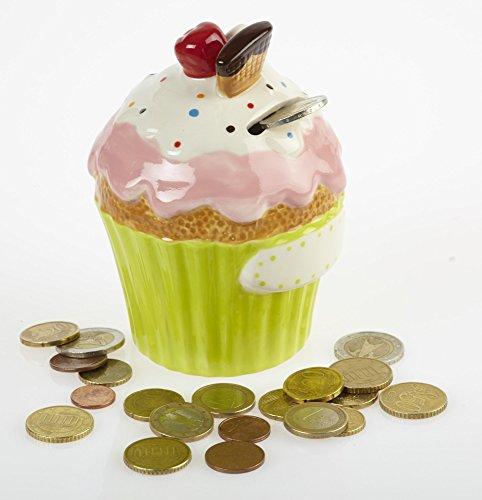By-Bers Cupcake - die Spardose bunt - in 6 Farbkombinationen, Sparbüchse Sparschwein oder Sparkasse im besonderen Design, als Geschenk (gelbgrün-rosa)