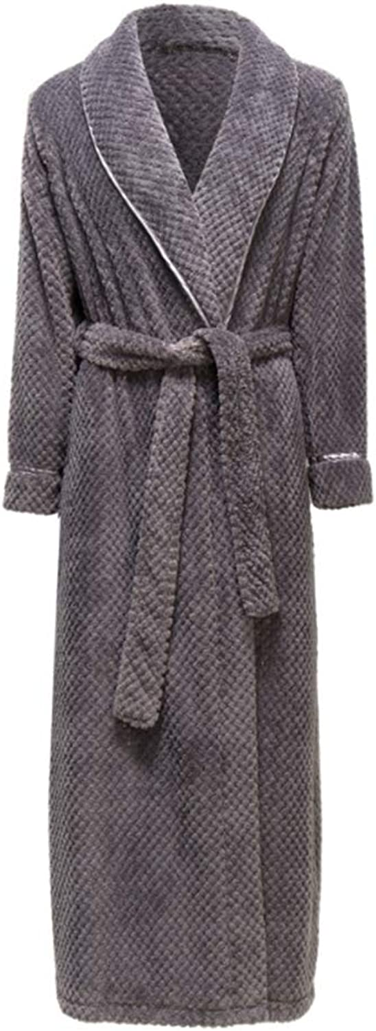 Winter Thickening Bathrobe Cotton Flannel Robe Nightgown Solid color Long Home for Woman and Man