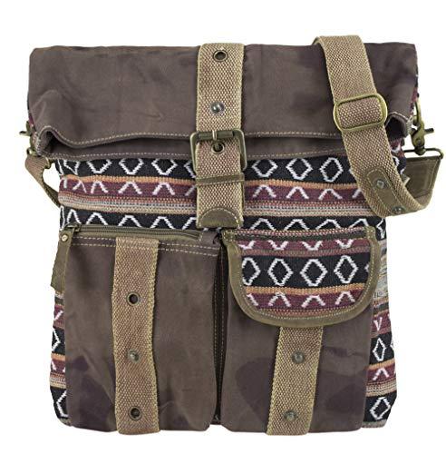 Sunsa Damen Umhängetasche große Schultertasche Crossbody Canvas Tasche Henkeltasche Vintage Studententasche Unisextasche braun