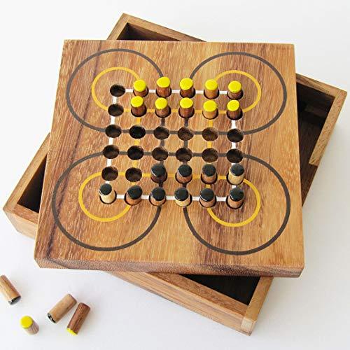 LEDELIRANT Surakarta Indonesisches Strategiespiel für 2 Spieler ab 7 Jahren Aus Massivholz mit CE-Normen, französische Marke, Reisespiel, einfache Aufbewahrung, wiederverschließbar