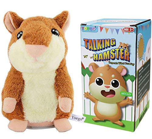 Yoego Talking Hamster Repeats What You Say Interactive Stuffed Plush Animal Talking Toy,Perfect Toy Gifts for Boys Girls Age 3+ (Brown)