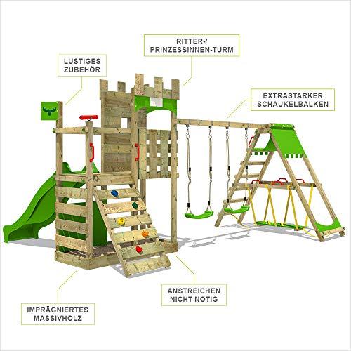 FATMOOSE Spielturm Ritterburg BoldBaron mit Schaukel, SurfSwing & apfelgrüner Rutsche, Spielhaus mit Sandkasten, Leiter & Spiel-Zubehör - 4
