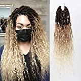 FASHION IDOL New Goddess Locs Crochet Hair 5 Packs Boho River Locs Crochet Hair 20 Inch Natural Weay Nu Faux Locs Crochet Hair with Curly Hair Ombre Brown 613