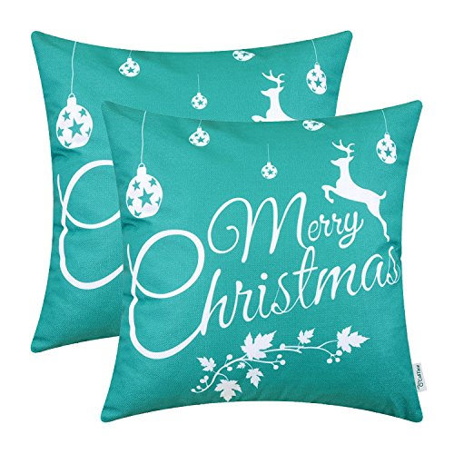 CaliTime Pack of 2 Soft Canvas Throw Pillow Covers Cases for Couch Sofa Home Decoration Merry Christmas White Reindeer 20 X 20 Inches Teal