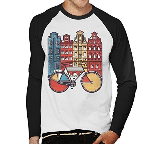Cloud City 7 Amsterdam Retro Bike Men's Baseball Long Sleeved T-Shirt