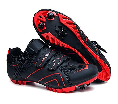 Cool-CZQ Scarpe da Bicicletta MTB, Scarpe da Bici da Strada per Mountain Bike Traspiranti Leggere E Professionali, Pedale Antiscivolo (43,Rosso)